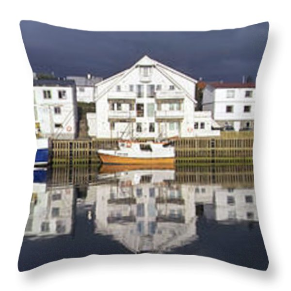 Henningsvaer Panoramic View Throw Pillow by Heiko Koehrer-Wagner