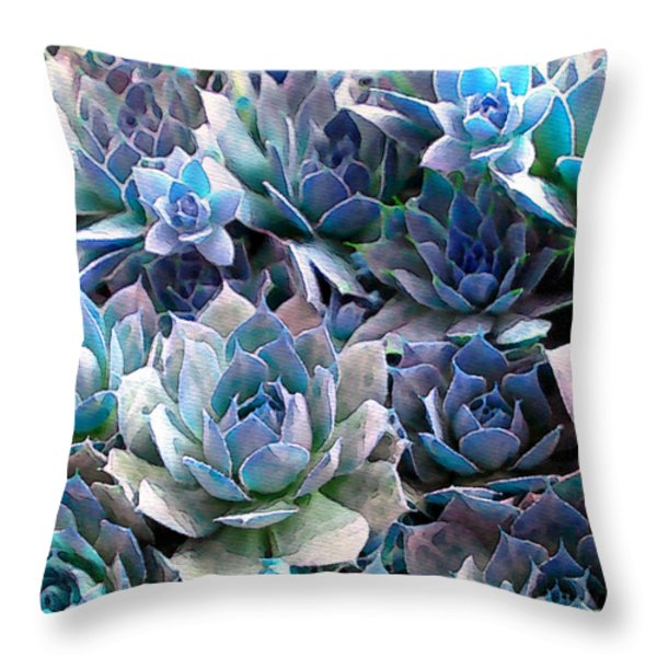 Hens and Chicks series - Evening Light Throw Pillow by Moon Stumpp