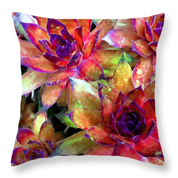 Hens And Chicks Series - Garden Brass Throw Pillow by Moon Stumpp