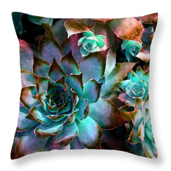 Hens and Chicks series - Verdigris Throw Pillow by Moon Stumpp
