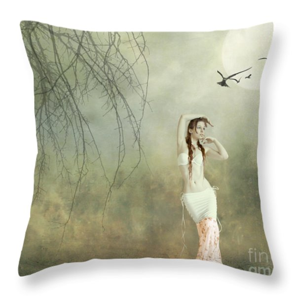 Her Cool Demeanor Throw Pillow by Linda Lees