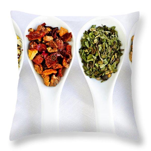 Herbal teas Throw Pillow by Elena Elisseeva