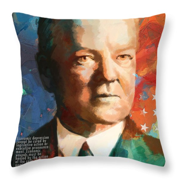 Herbert Hoover Throw Pillow by Corporate Art Task Force