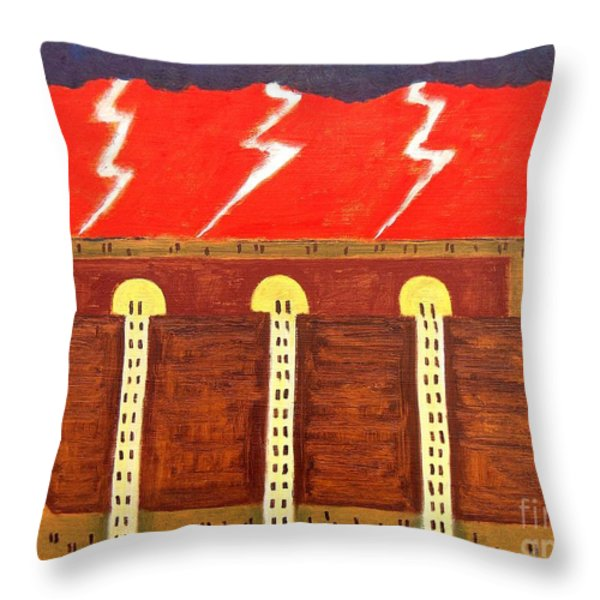 HERE COMES THE FLOOD Throw Pillow by Patrick J Murphy