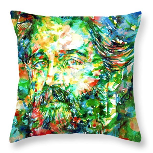 Herman Melville Watercolor Portrait Throw Pillow by Fabrizio Cassetta