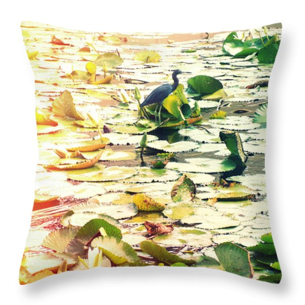 Heron Among Lillies Photography Light Leaks Throw Pillow by Chris Andruskiewicz