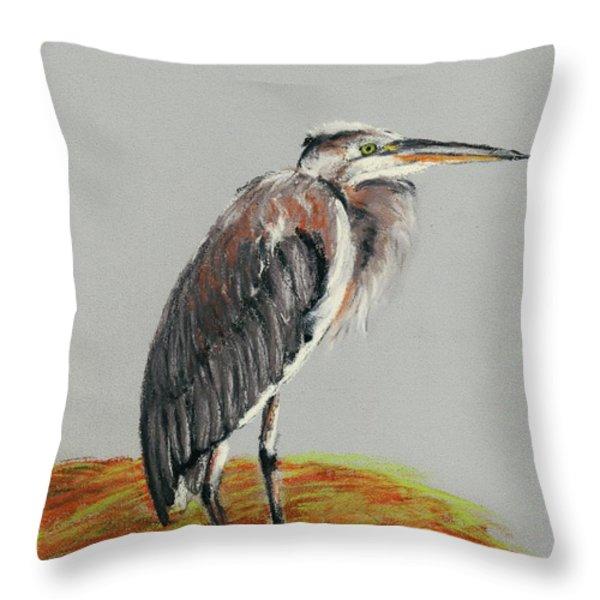 Heron Throw Pillow by Anastasiya Malakhova
