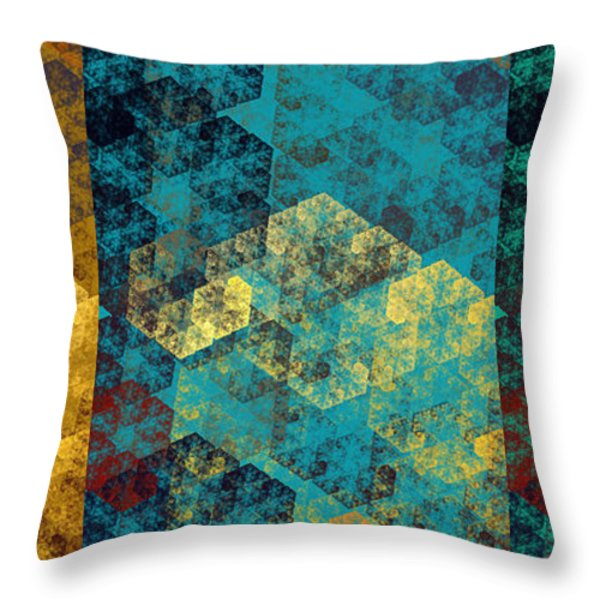 Hexagon Fractal Art Panorama Throw Pillow by Andee Design