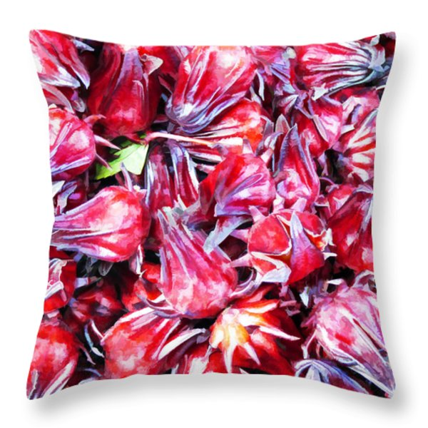 Hibiscus Buds Throw Pillow by Penny Pesaturo