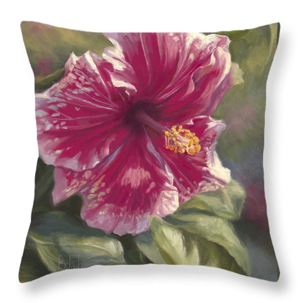 Hibiscus In Bloom Throw Pillow by Lucie Bilodeau