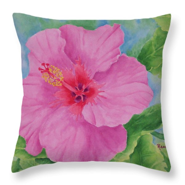 Hibiscus Throw Pillow by Rhonda Leonard