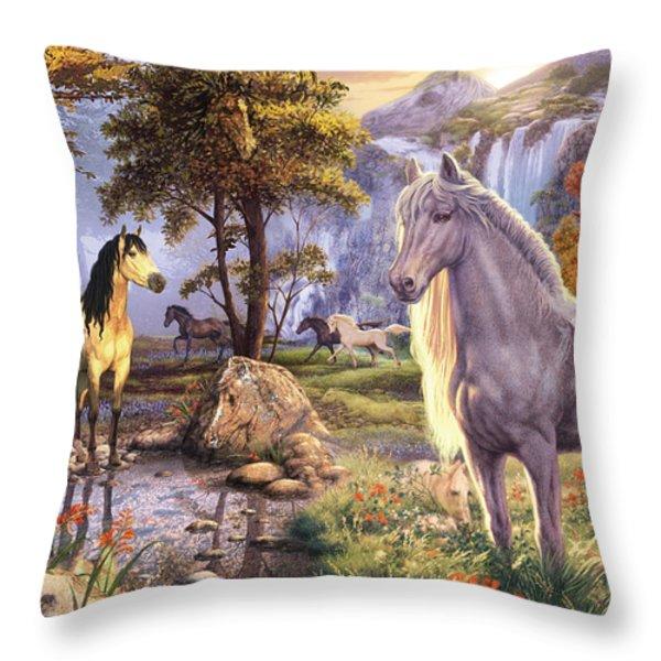 Hidden Images - Horses Throw Pillow by Steve Read