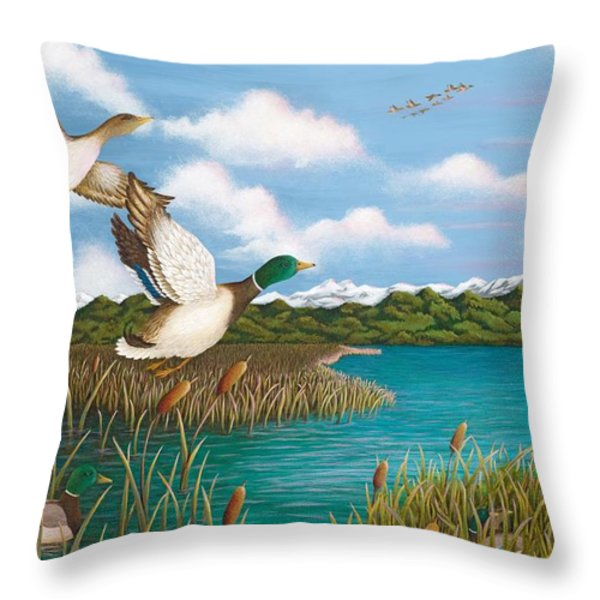 Hiding Out Throw Pillow by Katherine Young-Beck