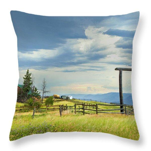 HIGH COUNTRY FARM Throw Pillow by Theresa Tahara