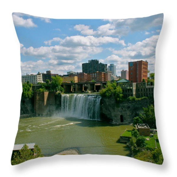 High Falls Rochester Throw Pillow by Justin Connor