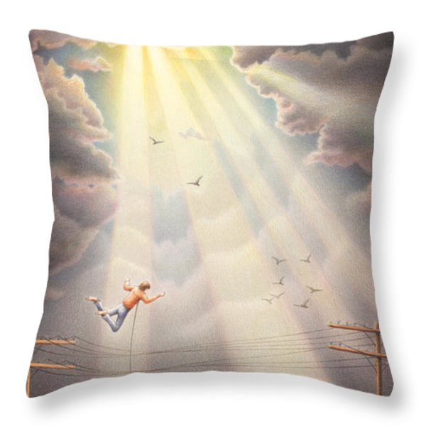 High Wire - Dream Series No. 4 Throw Pillow by Amy S Turner