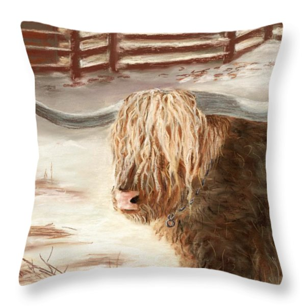Highland Bull Throw Pillow by Anastasiya Malakhova
