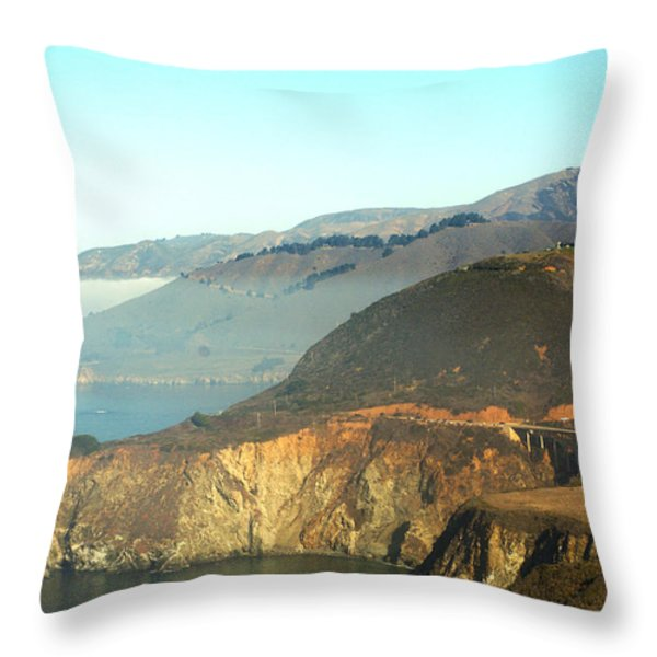 Highway One Bixby Bridge Close Throw Pillow by Barbara Snyder