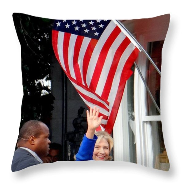 Hillary Clinton Throw Pillow by Ed Weidman