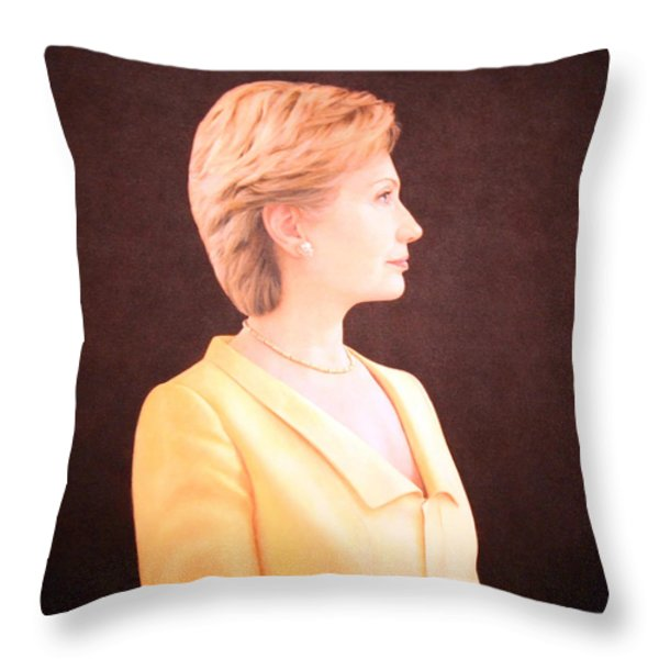Hillary Rodham Clinton Up Close Throw Pillow by Cora Wandel