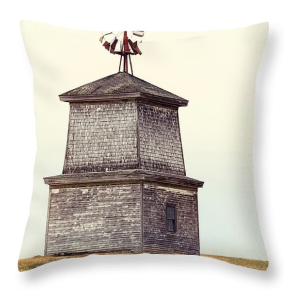 Hilltop Windmill Throw Pillow by Richard Bean