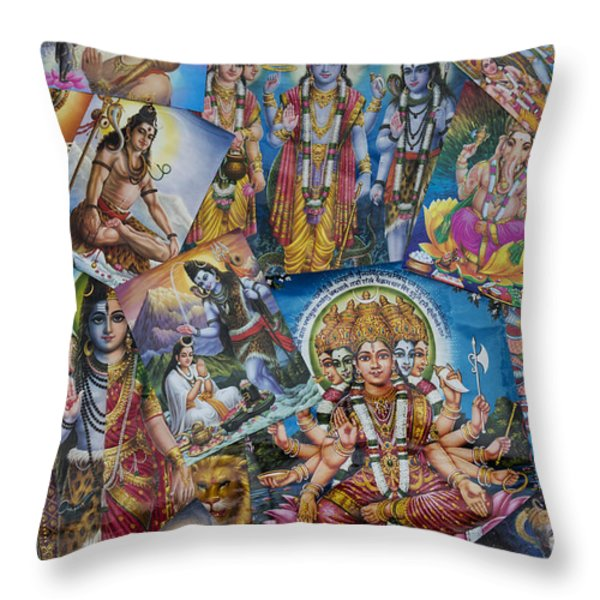 Hindu Posters Throw Pillow by Tim Gainey