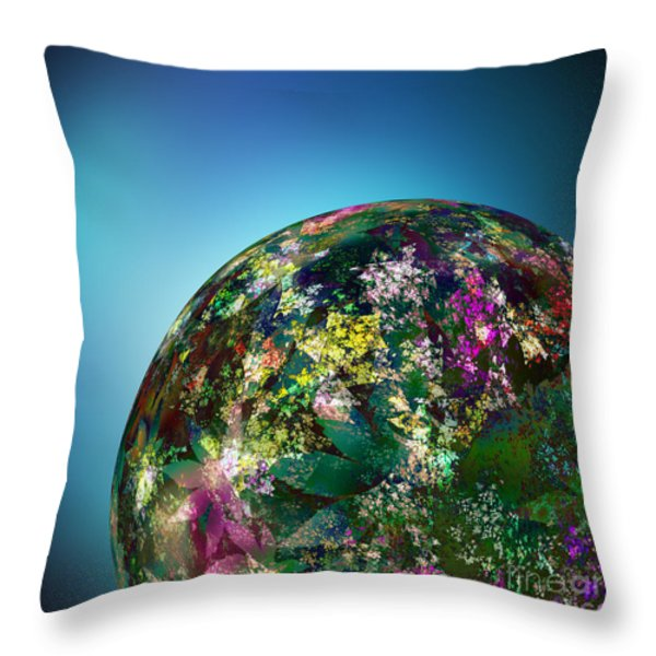 Hippies' Planet 2 Throw Pillow by Klara Acel