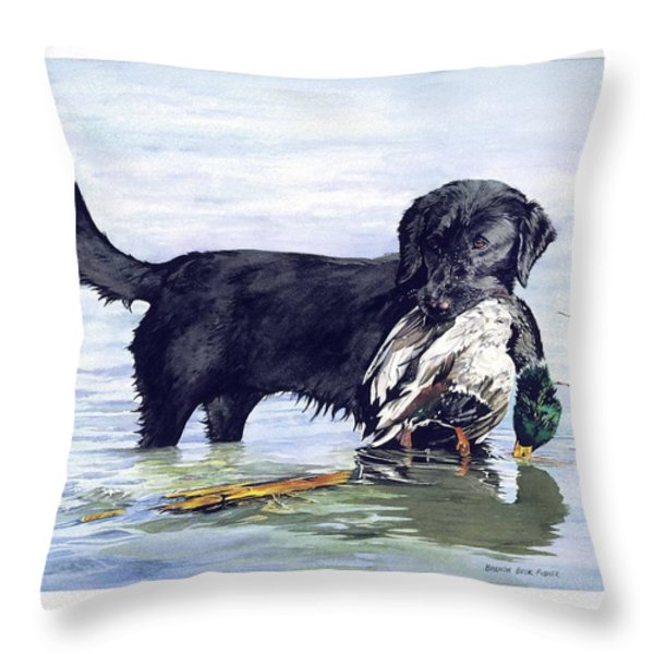 His First Catch Throw Pillow by Brenda Beck Fisher