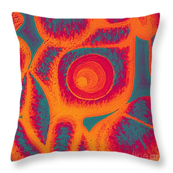 His Navel Flames Throw Pillow by Feile Case