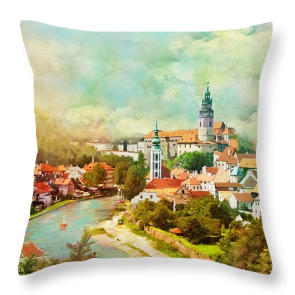 Historic Centre of Cesky Krumlov Throw Pillow by Catf