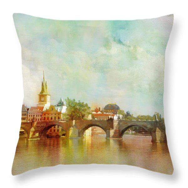 Historic Centre of Prague  Throw Pillow by Catf