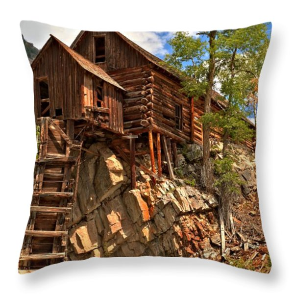 Historic Crystal Mill Throw Pillow by Adam Jewell