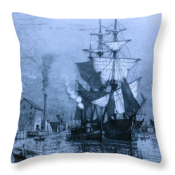 Historic Seaport Blue Schooner Throw Pillow by John Stephens