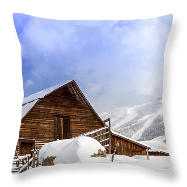 Historic Steamboat Springs Barn And Ski Area Throw Pillow by Teri Virbickis
