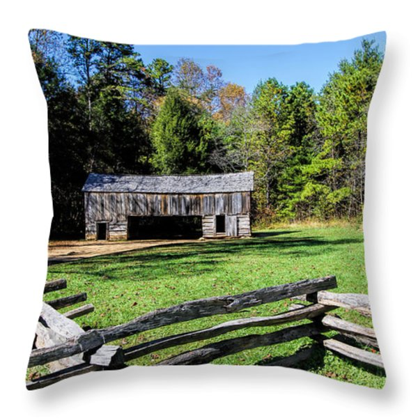 Historical Cantilever Barn at Cades Cove Tennessee Throw Pillow by Kathy Clark