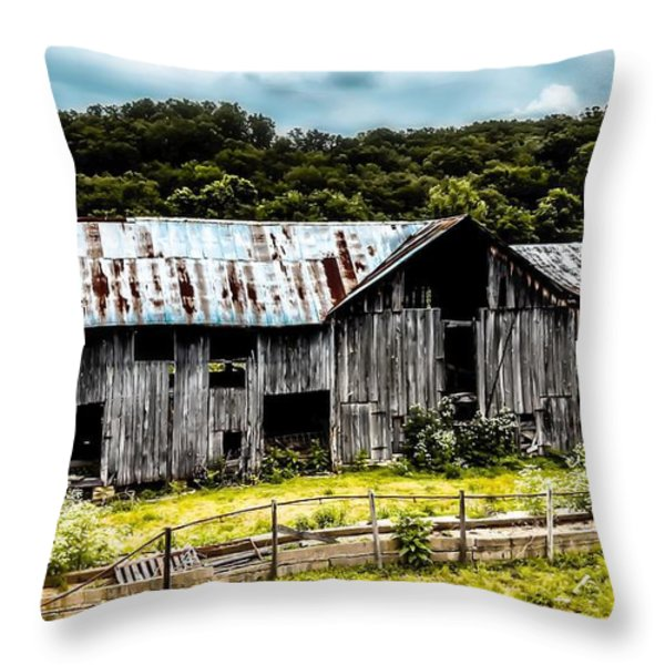 History Left Behind  Old Barn Throw Pillow by Peggy  Franz