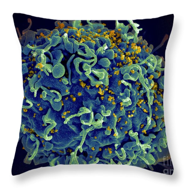 Hiv T Cell Under Attack Sem Throw Pillow by Science Source