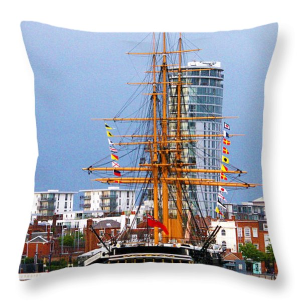 HMS Warrior Portsmouth Throw Pillow by Terri  Waters