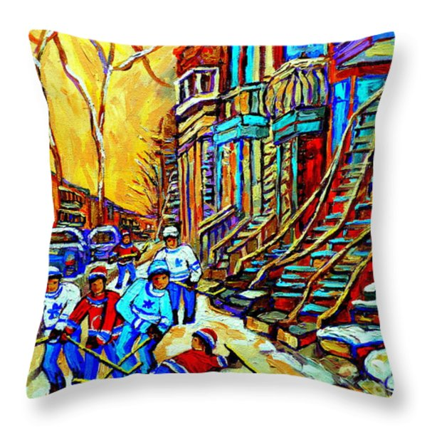 HOCKEY ART MONTREAL WINTER SCENE WINDING STAIRCASES KIDS PLAYING STREET HOCKEY PAINTING  Throw Pillow by CAROLE SPANDAU