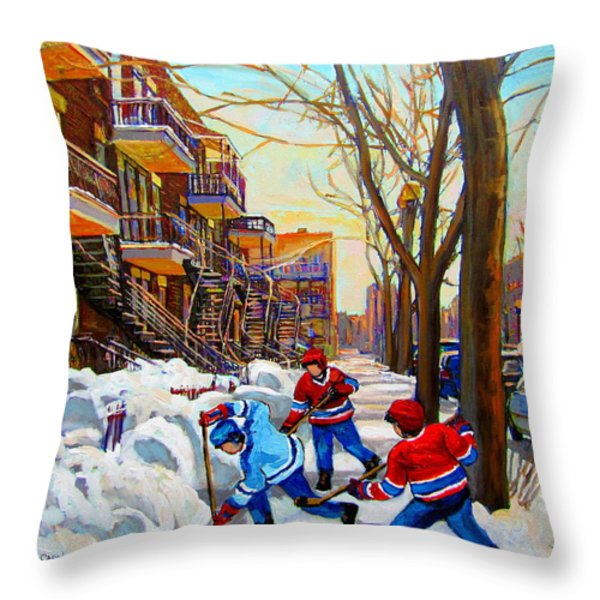 Hockey Art - Paintings Of Verdun- Montreal Street Scenes In Winter Throw Pillow by Carole Spandau