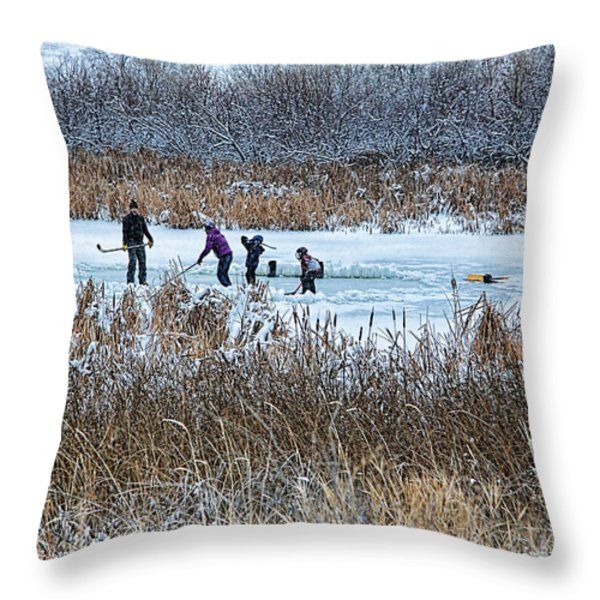 Hockey Joy Throw Pillow by Kathy Bassett