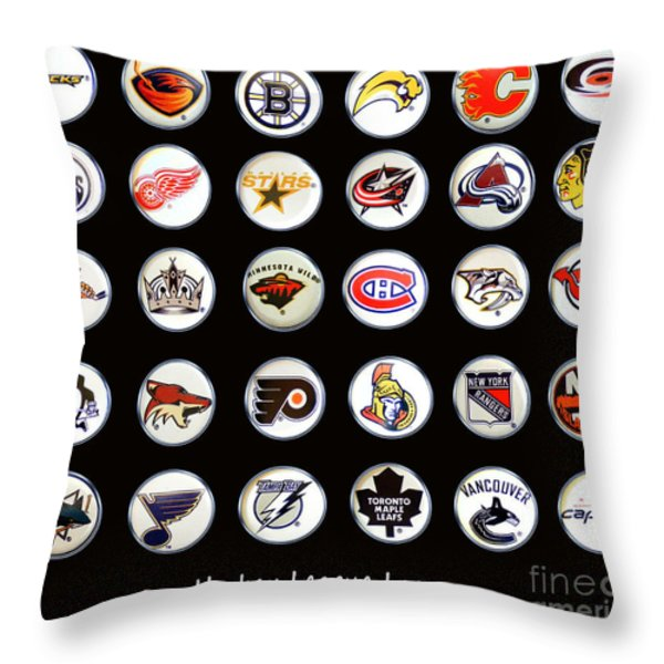 Hockey League Logos Bottle Caps Throw Pillow by Barbara Griffin