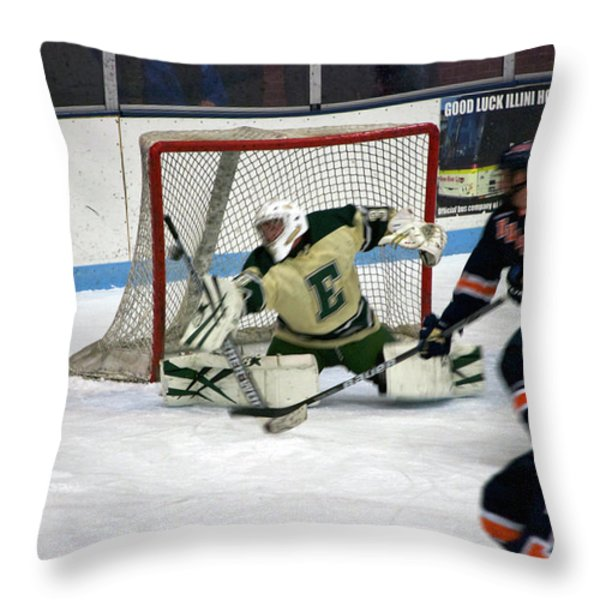 Hockey Off The Handle Throw Pillow by Thomas Woolworth