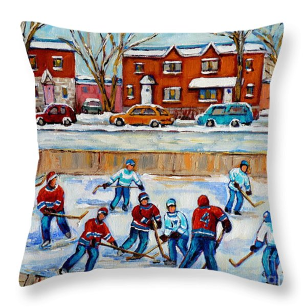 HOCKEY RINK AT VAN HORNE MONTREAL Throw Pillow by CAROLE SPANDAU