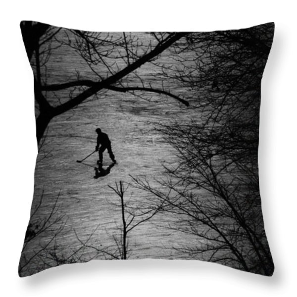 Hockey Silhouette Throw Pillow by Andrew Fare