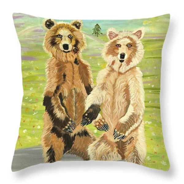 Hoedown On The Tundra Throw Pillow by Phyllis Kaltenbach