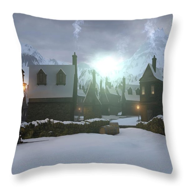Hogsmeade Throw Pillow by Cynthia Decker