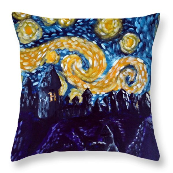 Hogwarts Starry Night Throw Pillow by Jera Sky