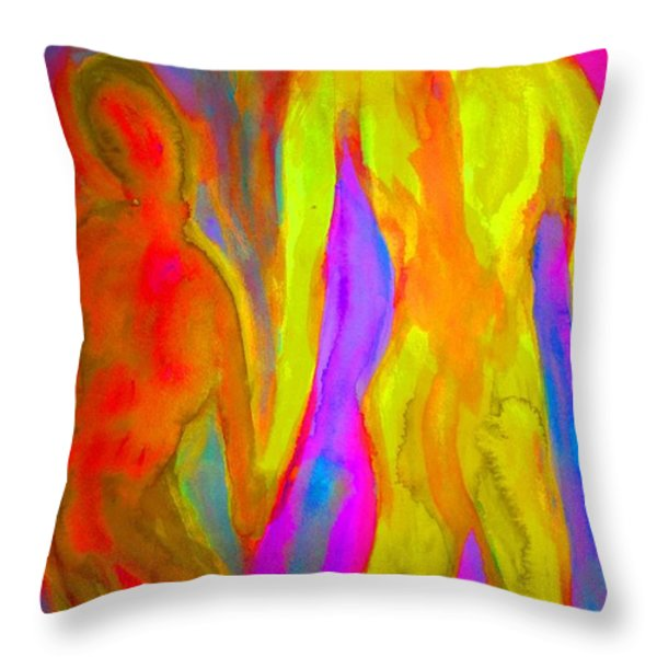 Holding Our Hands Throw Pillow by Hilde Widerberg