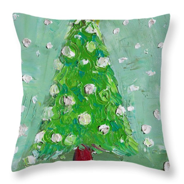 Holiday Greeting Throw Pillow by Becky Kim